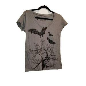 L.O.L. Vintage Goth Bats Cemetary Trees Tee